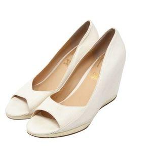 Modern Vintage Ivory Peep Toe Wedge Heels size 9